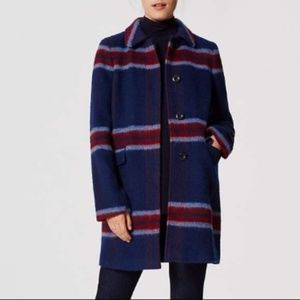 NWOT LOFT Brushed Plaid Coat
